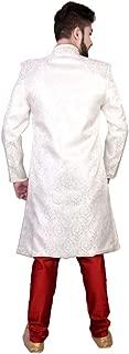 SG RAJASAHAB SGRAJASAHAB Men's Phone Sherwani Raw Silk Fabrics (ART-SILVER-111-PHONE-PT)