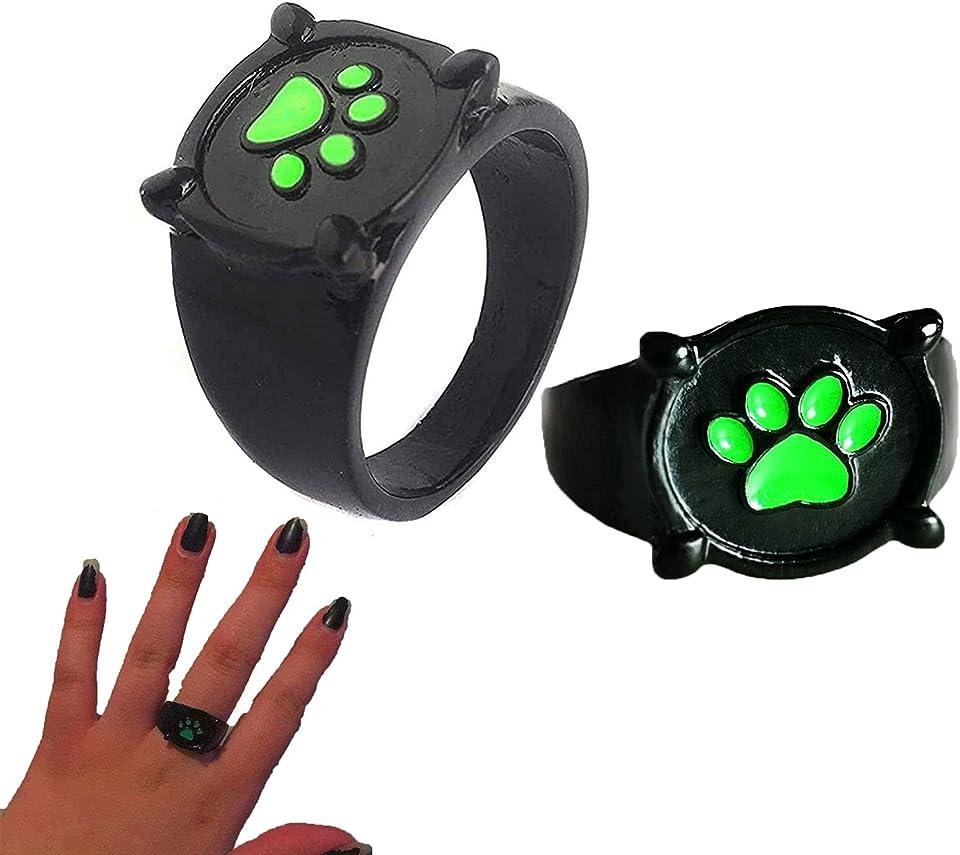 2 x schwarzer Cat-Noir-Ring, Cat Noir-Ring für Kinder und Erwachsene, Cosplay, Cat Noir-Ring, Miraculous, Miraculous Ladybug Jewelry Cat Noir-Ring, für Rollenspiel-Kostüm-Requisiten Zubehör
