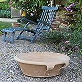 Kreta - Ciotola in terracotta con manico, 60 cm, per piantare o come mini stagno decorativo mediterraneo, per giardino, patio, di altissima qualità, 60 cm