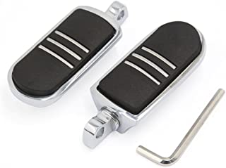uxcell Chrome Silver Tone Male Mount Streamliner Highway Motorcycle Foot Pegs For Harley Davidson Road King Street Glide