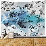 Tapiz de pared Diseño Estilo de pluma Boceto Conjunto de tortuga Medusa Elemento Animales Vida silvestre Tema submarino Texturas Tapiz de buceo Tapiz de playa para colgar en la pared para decoración d