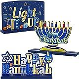 3 Decorazione Hanukkah per Tavola Centrotavola Chanukkah Segno Menorah in Legno Dreidel per Giorno della Neve Invernale Festa di Natale Vassoio Caffè Cena