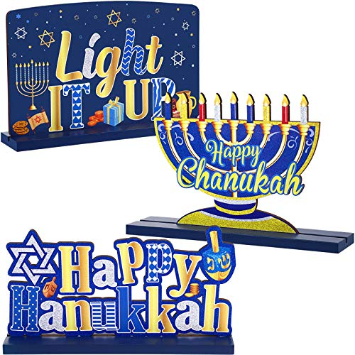 3 Hanukkah Decoration for Table Chanukkah Table Centerpiece Wooden Menorah Sign Dreidel for Winter Snow Day XMAS Chanukkah Party Dinner Coffee Tier Tray