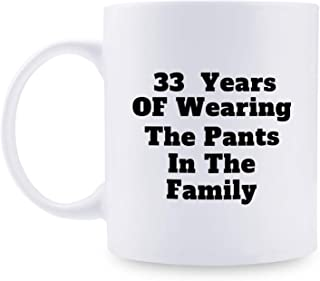 33rd Anniversary Gifts - 33rd Wedding Anniversary Gifts for Couple, 33 Year Anniversary Gifts 11oz Funny Coffee Mug for Couples, Husband, Hubby, Wife, Wifey, Her, Him, wearing the pants