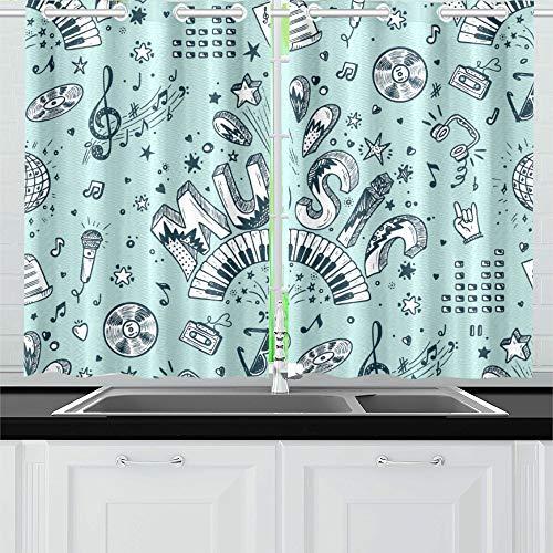 Reopx Musik Hand Küche Vorhänge Fenster Vorhang Stufen für Café, Bad, Wäscheservice, Wohnzimmer Schlafzimmer 26 x 39 Zoll 2 Stück