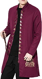 Howme-Men Windproof Tang Suit Slim Casual Embroidered Duster Coat