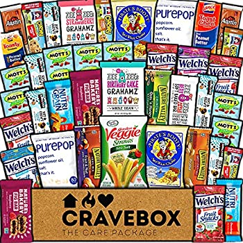 CraveBox Healthy Care Package  40 Count  Natural Food Bars Nuts Fruit Health Nutritious Snacks Variety Gift Box Pack Assortment Basket Bundle Mix Sampler College Students Office Staff Back to School