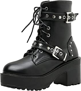 Details about  /Gothic US8 Women Chunky Heel Pointy Toe Retro Combat Riding Mid Calf Boots Fgg66