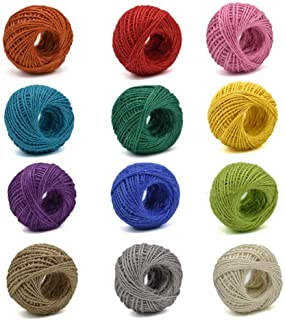 Jute Twine 12 Pack 3 Ply 12 Different Colors for Artworks and Gift Wrapping String Crafts Gift Twine 33 Yards per roll