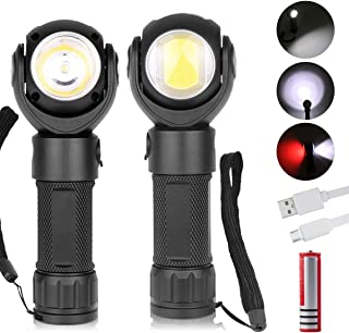 LED Work Light,Micro USB Rechargeable Flashlight 600 Lumen T6 + COB LED torch with Magnetic Base 360°Rotate 7 Lighting Mod...