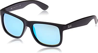 Ray-Ban Justin Non-Polarized Sunglasses, BLACK RUBBER Frame BLUE MIRROR Plastic Lenses, 55mm