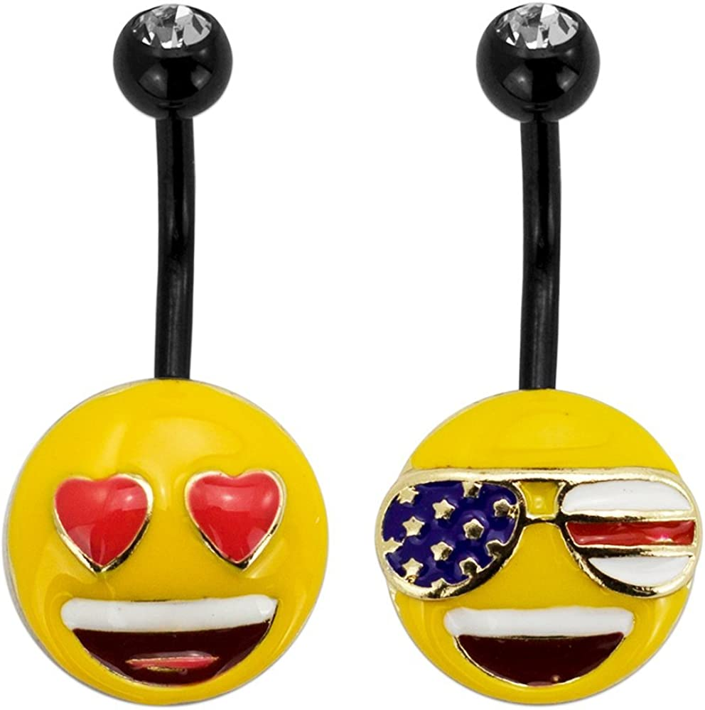 emoji Stainless Steel Belly Button Rings Body Piercing Jewelry Emoticon Navel Rings Women - Officially Licensed
