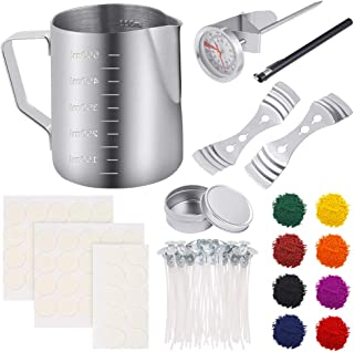 Sntieecr 113 PCS Candle Making Kit with 8 Colors Wax Candle Dye, Candle Make Pouring Pot, Candle Wicks, Candle Wicks Sticker, 3-Hole Candle Wicks Holder, Candle Tin Box and Thermometer for DIY Candles