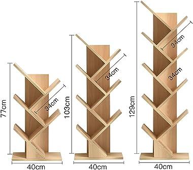 WJ 書棚- クリエイティブな木製のシンプルな床の木の形の本棚の木の色 - 3つのサイズから選択する /-/ (Size : 40X77cm)