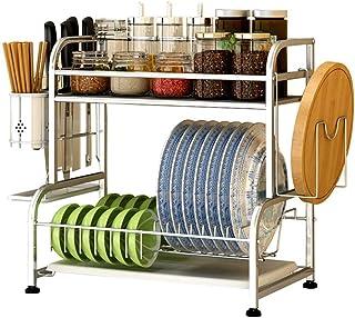 Dxbqm Étagères de Cuisine Organisateur de Rangement, égouttoir à Vaisselle en Acier Inoxydable, étagère de Rangement pour ...