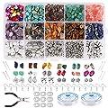 Kit di gioielli fai da te: rocce naturali 500 pezzi, pendenti con ciondolo 30 pezzi, distanziatori perline gioielli 105 pezzi, gancio orecchini 100 pezzi, anelli di salto 100 pezzi, perno T 50 pezzi, perno occhio 50 pezzi, cordino elastico 2 pezzi * ...