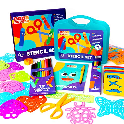Lava Crafts Drawing Stencils for Kids | Arts and Crafts for Boys and Girls | Perfect Kids Drawing Kit | Notepad, Fine Markers, Colored Pencils, Sharpener, Scissors | Ages 4 5 6 7 8 9 (Blue)