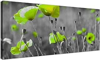 Barato blanco y negro lienzo de amapolas–de verde de diseño floral Lienzos–1138–Wallfillers®