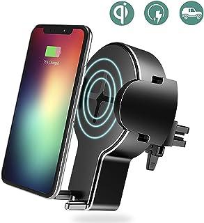 rock space Qiワイヤレス充電器 車載ホルダー 急速充電 360°回転 吹き出し口式 強力固定 ワイヤレス充電 チャージャー iPhoneX / iPhone8 / iPhone8 Plus/Galaxy S6 などQiデバイス対応