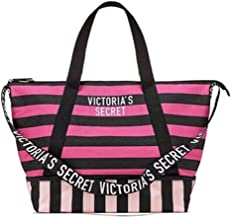 Victoria's Secret Expandable Weekender Tote Bag, Pink and Black Stripe