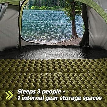 RXFSP Tente instantanée pour 3 à 4 personnes - Installation automatique - Double couche - Tente familiale instantanée pour le camping, la randonnée et les voyages