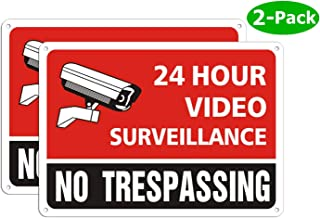 Video Surveillance Sign - Security Camera Warning Signs 24 Hour for Property Outdoor Indoor Metal - No Trespassing for House Home Yard - Waterproof Reflective Aluminum (10 x 7 Inches, Pack of 2)