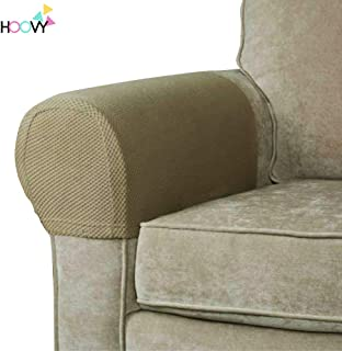 Hoovy Fabric Stretch Armrest Covers Non-Slip Slipcovers for Couches Sofa Set of 2 (Beige)