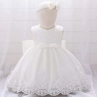 BestGift infant Baby Lace Dress Big bow Baptism Dresses for Girls birthday party wedding 0-24M