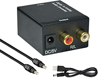 Proxima Direct DAC Digital to Analog Converter Digital SPDIF Toslink to Analog Stereo RCA 3.5mm Jack Audio L/R Adapter wit...