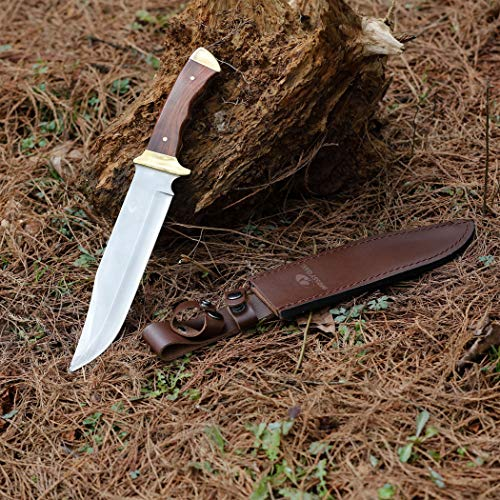 MOSSY OAK 14-inch Bowie Knife, Full-Tang Fixed Blade Wood Handle with Leather Sheath