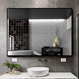 "Kingmond Large Modern and Simple Bathroom Wall-Mounted Black Framed Mirror Horizontal or Vertical Hangs for Home/Hotel (32""x24"",Black) …"