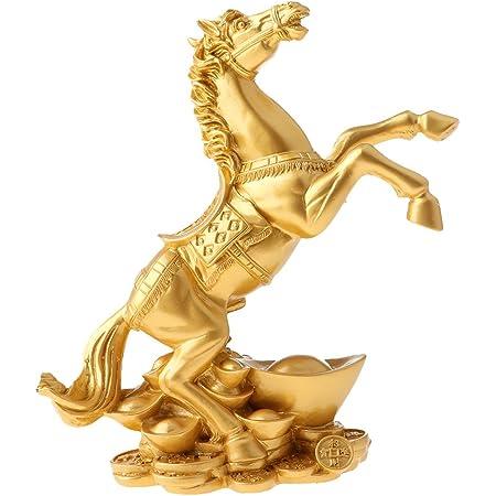馬のモデル 置物 樹脂 工芸品 風水グッズ 縁起物 オフィス 車 家 玄関 装飾品 インテリア 幸運 - ゴールド#2, L