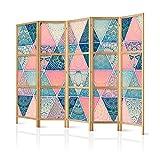 murando - Biombo XXL Mandala 225x171 cm - 5 Paneles Lienzo de Tejido no Tejido Tela sintética Separador Madera Design de Moda Hecho a Mano Deco Home Office Japón p-C-0009-z-c