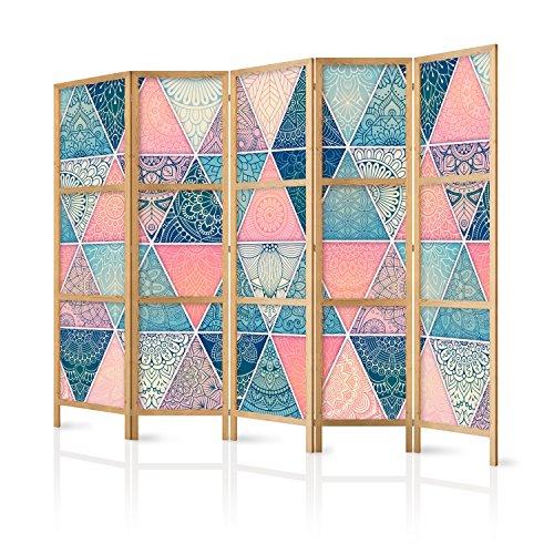 murando - Paravent XXL Mandala Abstrakt 225x171 cm 5-teilig einseitig eleganter Sichtschutz Raumteiler Trennwand Raumtrenner Holz Design Motiv Deko Home Office Japan p-C-0009-z-c