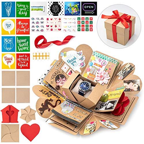 WONDER BOX Überraschungsbox - Kreative DIY Foto Geschenk Box - Explosionsbox Bilder Kiste - Das Besondere Geschenk für Geburtstag, Hochzeit, Verlobung, Jahrestag - Faltendes Fotoalbum