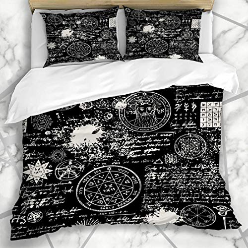 Soefipok Duvet Cover Sets Handwriting Alchemy On Occult Manuscript Book Abstract Blot Cross Design Israel Microfiber Bedding with 2 Pillow Shams
