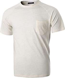 GIVON Mens Slim Fit Casual Short Sleeve Lightweight Raglan Crew Neck Chest Pocket T-Shirt