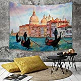 Yaoni Tapestry Pared paño Mantel Toalla de Playa,Venecia, Acuarela de Venecia Paisaje Urbano Sereno...