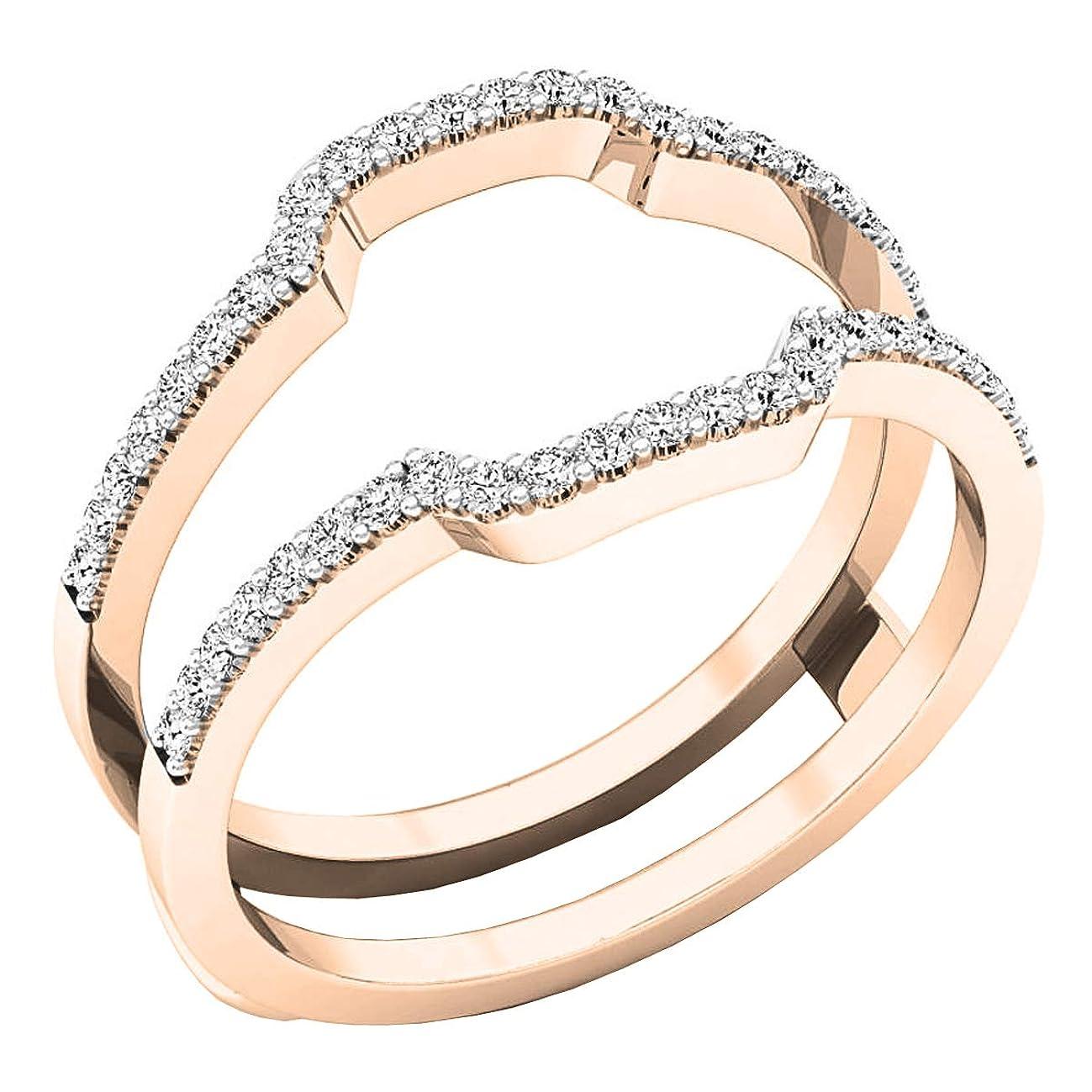 0.25 Carat (ctw) 14K Gold Round White Diamond Wedding Band Enhancer Guard Ring 1/4 CT