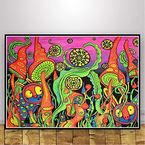 Geiqianjiumai Abstrakt schwarz lichtrahmen psychedelisch psychedelisch Kunst Poster Wohnzimmer Dekoration drucken Moderne leinwand wandbild rahmenlose malerei 30X40 cm
