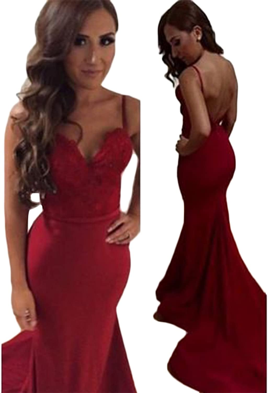 SDRESS Women's Lace Appliques Straps Backless Mermaid Christmas Prom Party Dress