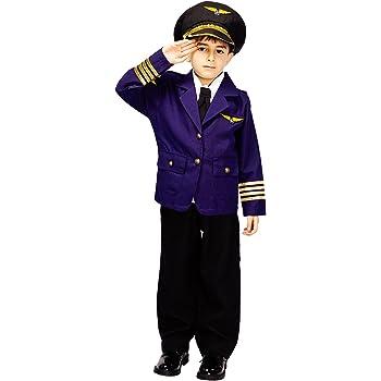 SEA HARE Disfraz de Uniforme Azul piloto para niño (S:4-6 años ...