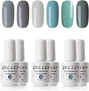 Gellen Gel Nail Polish Set - 6 Colors Collection Soak Off Nail Art Home Nail Gel Manicure Kit, Colors Cold Grays