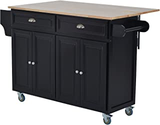 HOMCOM Wood Top Drop-Leaf Rolling Kitchen Island Table Cart on Wheels - Black