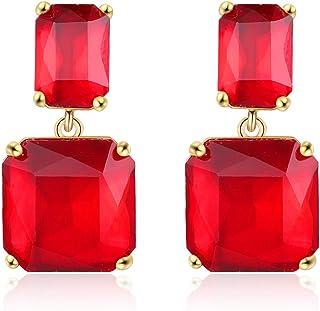 YBMYCM Geometric Statement Earrings for Women Crystal Dangle Earrings 18k Gold Plated Drop Earring Wedding Party Birthday ...