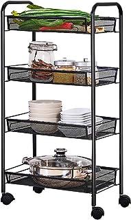 LaCyan Rolling Cart Mesh Wire Baskets Trolley Kitchen Bathroom Storage Cart (Black, 4 Tier)