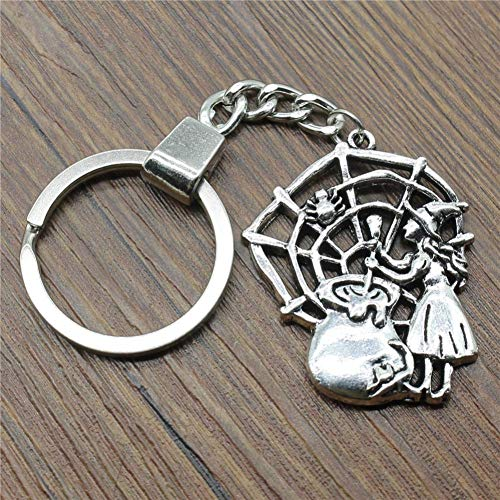 N/ A 40x33mm Cobweb Sorcery heks sleutelhanger mode handgemaakte metalen sleutelring party geschenk