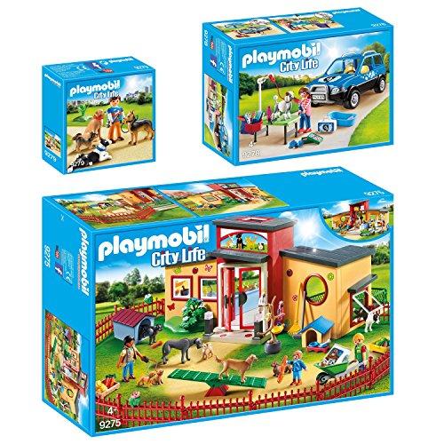 PLAYMOBIL® City Life 3er Set 9275 9278 9279 Tierhotel Pfötchen + Mobiler Hundesalon + Hundetrainer