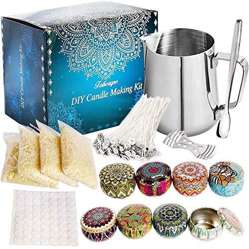 XXLYY Komplette DIY Candle Making-Kit, Duftkerzen Handwerkzeuge, Mit 50 Kerzendochte, Kerzen Kunst Und Bastelbedarf Für Anfänger, 21,5 * 13 * 17 cm,A