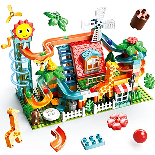 SUMXTECH Electric Marble Run, Compatible 255 PCS Building Blocks Set for Kids, Educational Construction Toys Roof Side-Way with Spiral Elevator, Marble Track for Age 3 Up Children